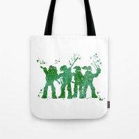 teenage mutant ninja turtles Tote Bags featuring Teenage Mutant Ninja Turtles by Carma Zoe