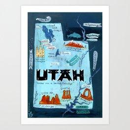 UTAH map Art Print