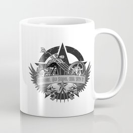 Hardcore. Old School. Deal With It. Classic Chopper and Skulls Coffee Mug