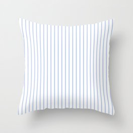 Alice Blue Pinstripe on White Throw Pillow