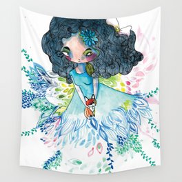 Blue nature with baby fox Wall Tapestry