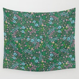 Violet clover and lupine among cornflowers and herbs Wall Tapestry