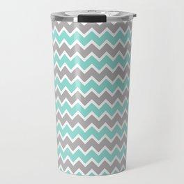 Aqua Turquoise Blue and Grey Gray Chevron Travel Mug