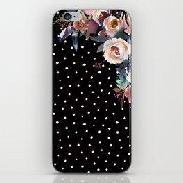 Boho Flowers and Polka Dots on Black iPhone Skin