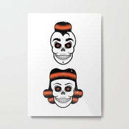 Spooky Rockabilly Skulls Metal Print