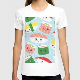 pattern Kawaii funny sushi rolls set with pink cheeks and big eyes, emoji T-shirt