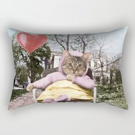 A pretty, little kitty with a heart-shaped balloon Rectangular Pillow