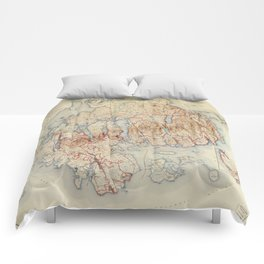 Map of Acadia National Park, Maine (1942) Comforters
