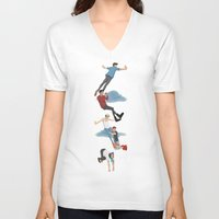 neverland V-neck T-shirts featuring Off To Neverland by Ashley R. Guillory