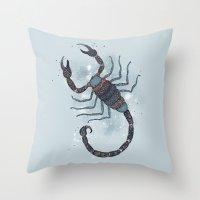 scorpio Throw Pillows featuring Scorpio by Vibeke Koehler