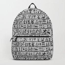 Egyptian Hieroglyphics // Silver Grey Backpack