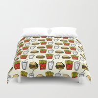 junk food Duvet Covers featuring Junk Food Pattern by mebz art