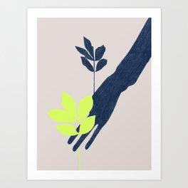 Plant & Hand Shadow Art Print