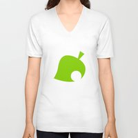 animal crossing V-neck T-shirts featuring Animal Crossing Summer Leaf by Rebekhaart