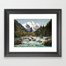 Mountains Forest Rocky River Framed Art Print