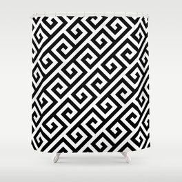 Greek Key Black Shower Curtain