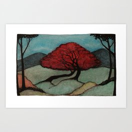 Red Lover Trees Art Print