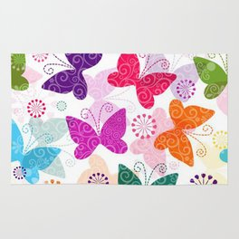 Colorful Butterflies and Flowers V1 Rug