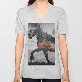 Black Horse Sunset Run Unisex V-Neck