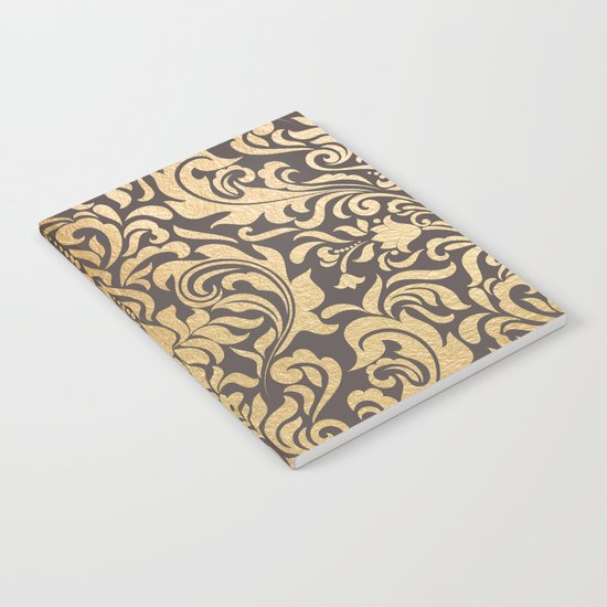 Gold swirls damask #9 Notebook