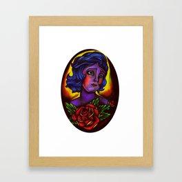 an old school girl Framed Art Print