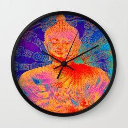 Rainbow coloured Buddha Wall Clock