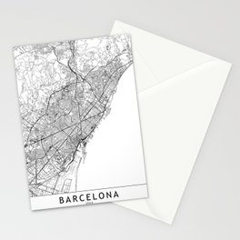 Barcelona White Map Stationery Cards