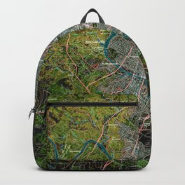Austin Texas old vintage colorful map, original gift for office decoration Backpack