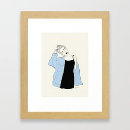 Denim Fox Framed Art Print
