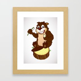 Beaver cartoon character with a toothbrush Framed Art Print