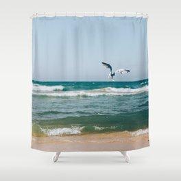 Gull Flight Over Lake Michigan Shower Curtain