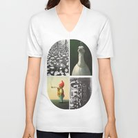 postcard V-neck T-shirts featuring Postcard Collage by wetravelasequals