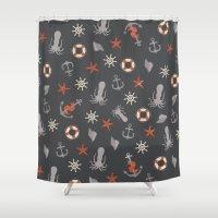 nautical Shower Curtains featuring Nautical by Schwebewesen • Romina Lutz