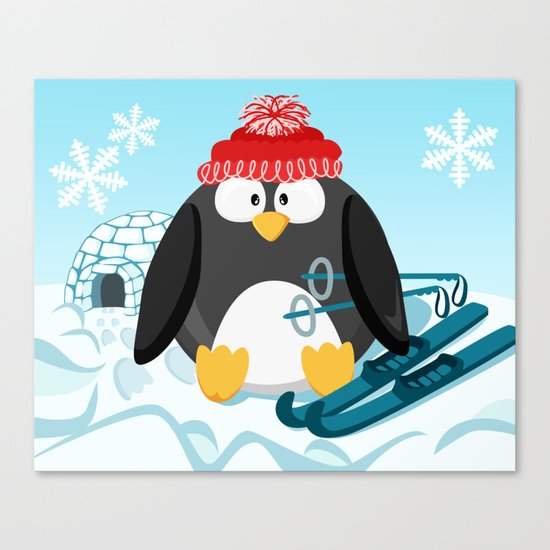 Penguin in January month series Canvas Print