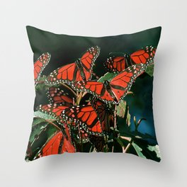 """Red """"Stained-Glass-Window-Style"""" Butterflies Scenic Throw Pillow"""