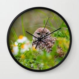 Owl in Flowers Wall Clock