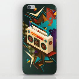 Bust Out The Jams Retro 80s Boombox Splash iPhone Skin