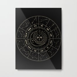 Zodiac Wheel Metal Print