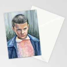 Stranger Things Eleven Art Watercolor Portrait Stationery Cards