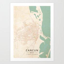 Cancun, Mexico - Vintage Map Art Print