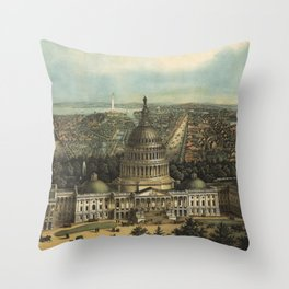 Vintage Pictorial Map of Washington D.C. (1871) Throw Pillow