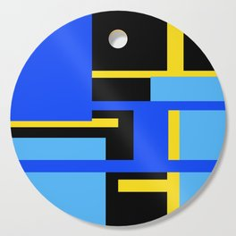 Rectangles - Blues, Yellow and Black Cutting Board