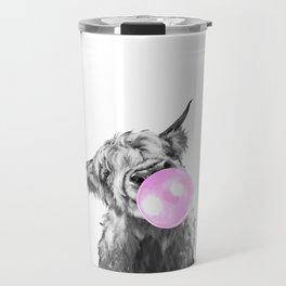 Bubble Gum Highland Cow Black and White Travel Mug