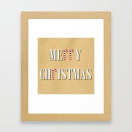 Merry Christmas Candy Cane  Framed Art Print