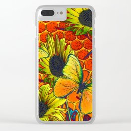 ORANGE-YELLOW BUTTERFLIES & SUNFLOWERS ARTISTIC HONEYCOMB DRAWING Clear iPhone Case