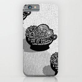 Lo-Maintenance Men & Cacti Black and White Trendy Illustration iPhone Case