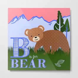 B is for Bear Metal Print