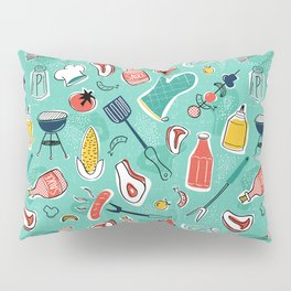 Backyard BBQ Aqua Pillow Sham
