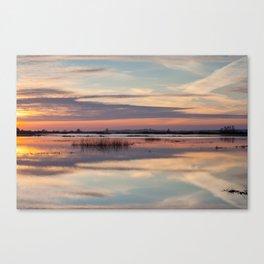 Sunrise over Biebrza river in Poland Canvas Print