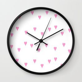 little and pink hearts Wall Clock